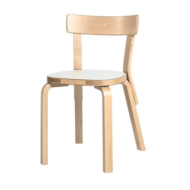 Silla infantil 69 abedul asiento laminado blanco de Artek