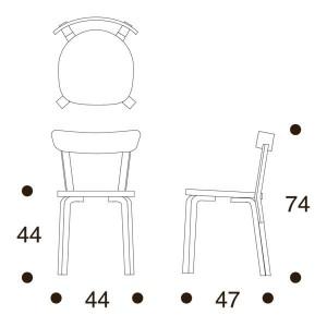 dimensiones Silla 69 de Artek