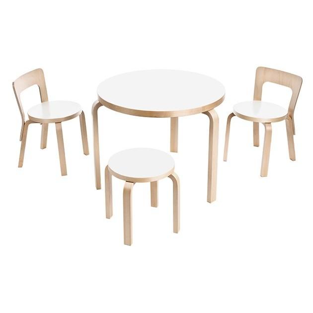 ambiente Silla N65 abedul lacado natural y mesa de Artek