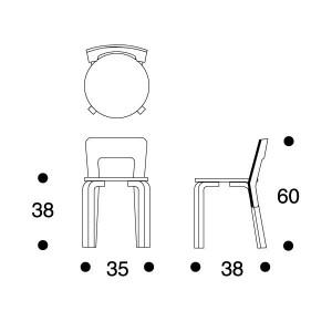dimensiones silla para niños 65 de Artek