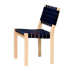 Silla 611 madera de abedul cincha negra de Artek