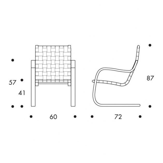 dimensiones Sillón 406 de Artek