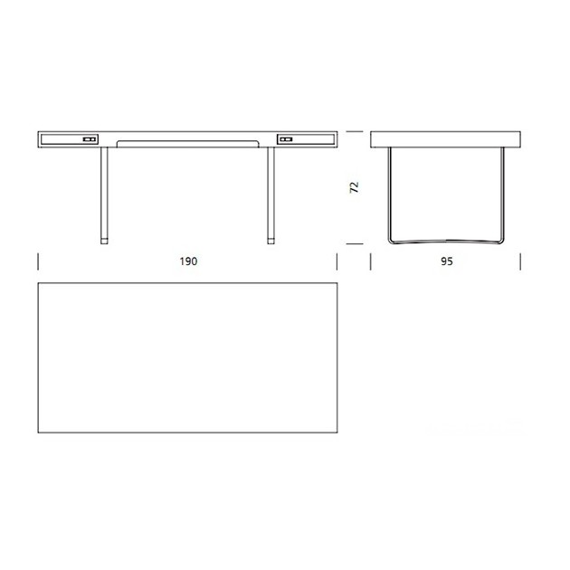 Dimensiones mesa de oficina CH110 de Carl Hansen. Disponible en Moisés showroom