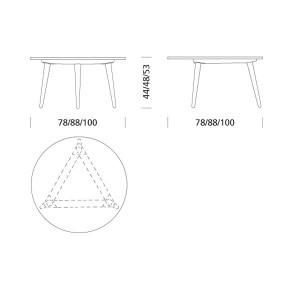 Dimensiones mesa CH008 de Carl Hansen. moisés showroom