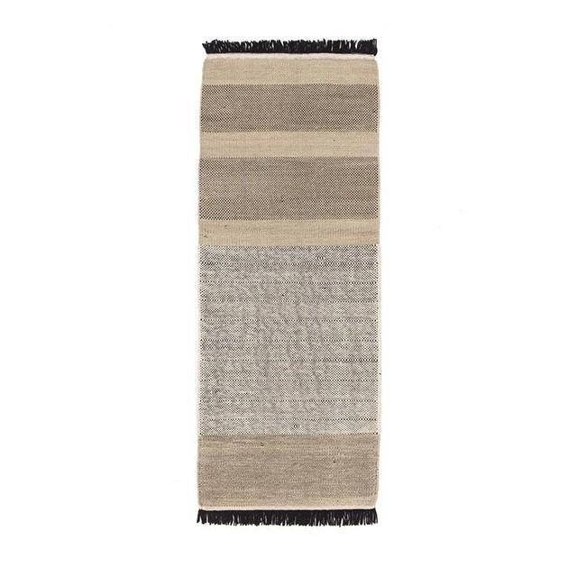 Alfombra Tres Stripes negro 80x240 Nanimarquina