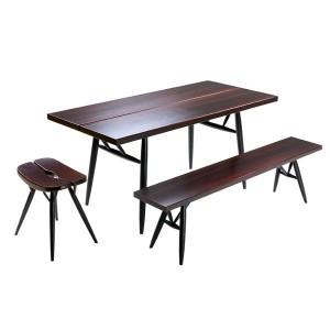 ambiente mesa, banco y Taburete Pirkka de Artek