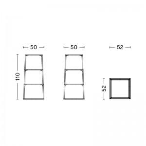 HAY estantería Eiffel cuadrada 4 alturas medidas
