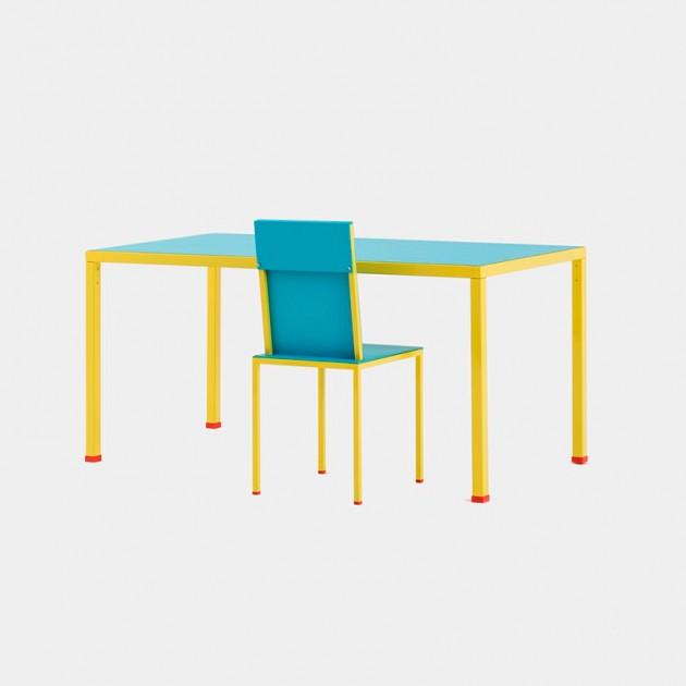 Mesa de comedor y silla Violetta de Memphis Milano