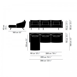 Sofá Costura con chaiselongue izquierdo - medidas
