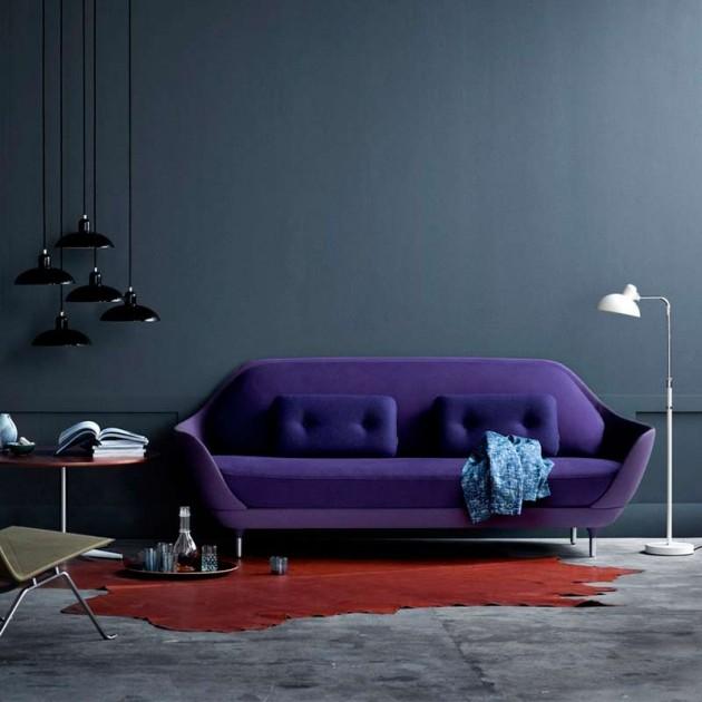 Interior con Lámpara de Pie Kaiser Luxus color negro y blanco de Fritz Hansen