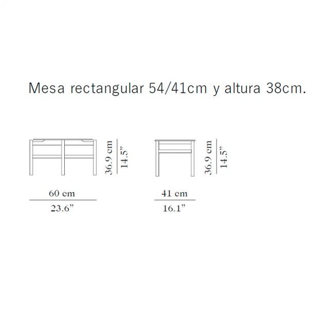 Medidas mesa auxiliar Rectangular BUD de Carmenes