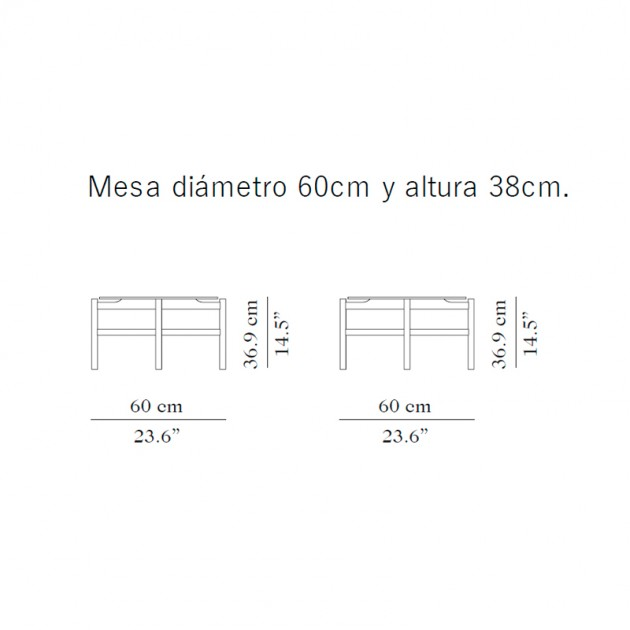 Medidas mesa de centro BUD redonda de Carmenes