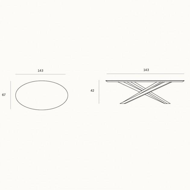 Medidas de la mesa de centro Mikado oval de Ethnicraft en Moises Showroom
