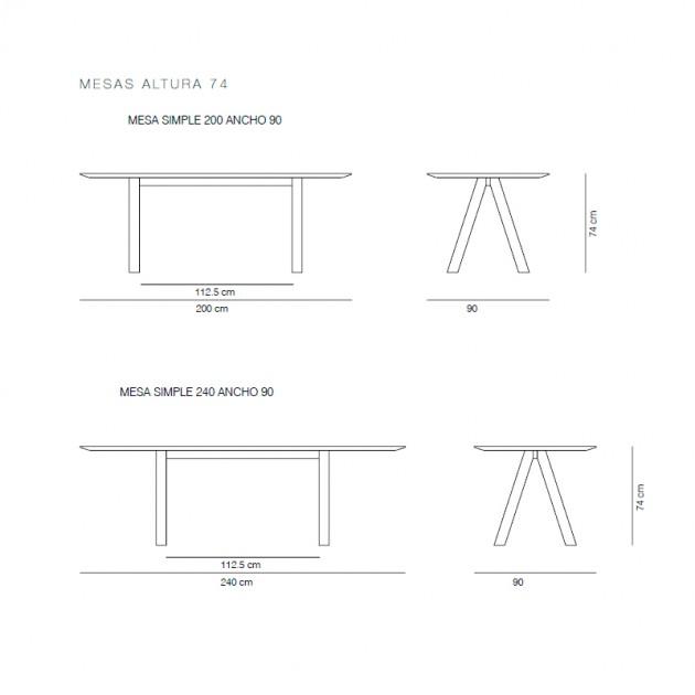 Medidas de la mesa Trestle de Viccarbe en Moises Showroom
