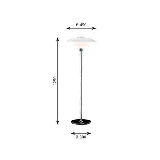 Lámpara PH 4½-3½ Glass Pie Louis Poulsen medidas