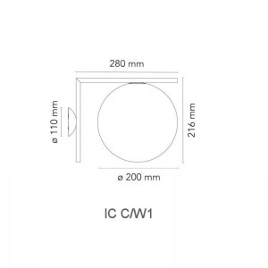 Aplique IC C/W1 Flos medidas