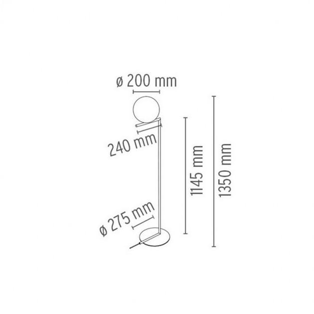 Lámpara IC F1 Flos medidas