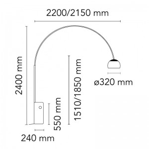 Lámpara Arco pie Flos medidas