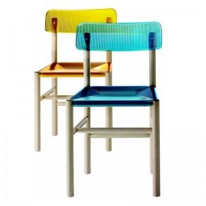 ambiente silla Trattoria color azul y amarillo magis