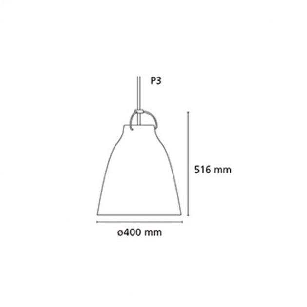 medidas Lámpara Caravaggio Opal p3 Fritz Hansen