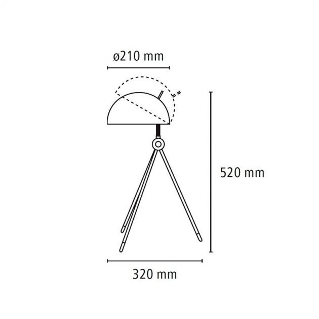Medidas y posiciones Lámpara Radon Table de Fritz Hansen