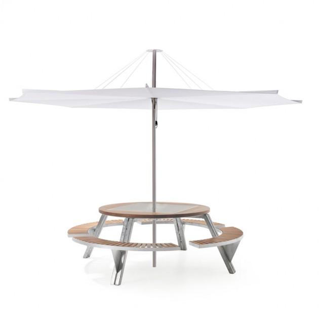 Combinación Parasol Inumbrina 380 con mesa redonda Gargantua de extremis