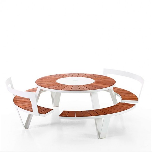 Mesa redonda picnic asientos con respaldo Pantagruel extremis
