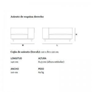 Dimensiones Sofá de esquina derecha Walrus de extremis