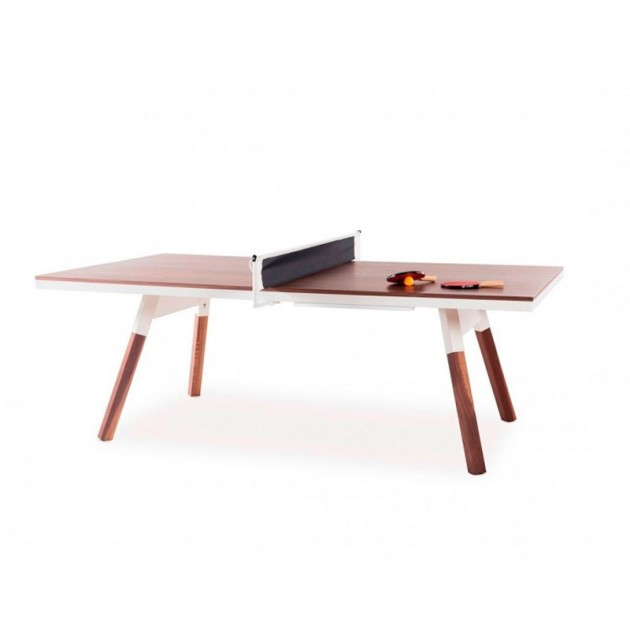 Mesa de Ping pong interior nogal color blanco colección You and me de RS Barcelona. Disponible en Moisés Showroom