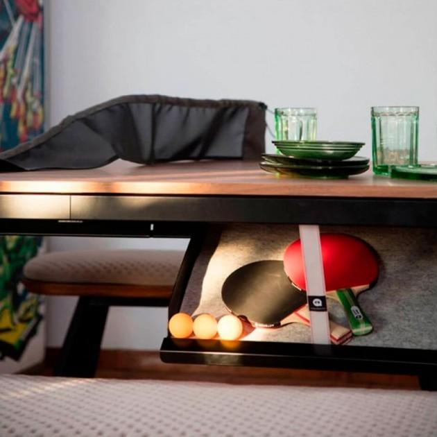 Detalle cajón y accesorios Mesa de Ping pong colección You and me de RS Barcelona. Disponible en Moisés Showroom
