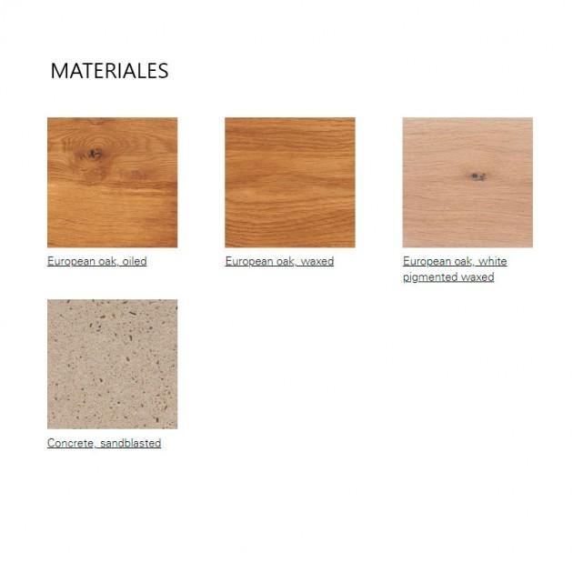 Materiales Mesa-banco Tafel de E15. Disponible en Moisés showroom