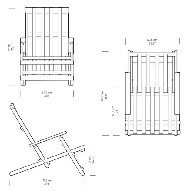 Dimensiones Deck chair BM5568 para exterior. Disponible en Moisés showroom