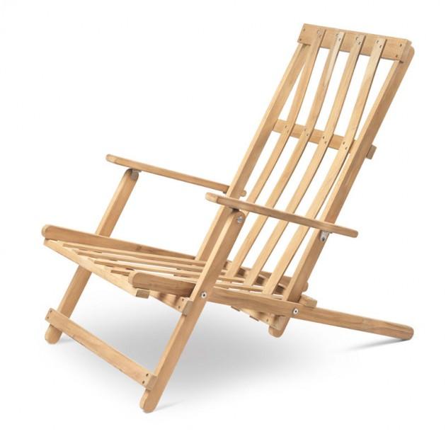 Carl Hansen Deck chair BM5568 teca para exterior. Disponible en Moisés showroom