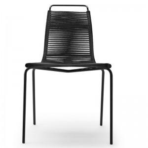 Silla PK1 cuerda negra estructura revestimiento polvo negro de Carl Hansen. Disponible en Moisés showroom