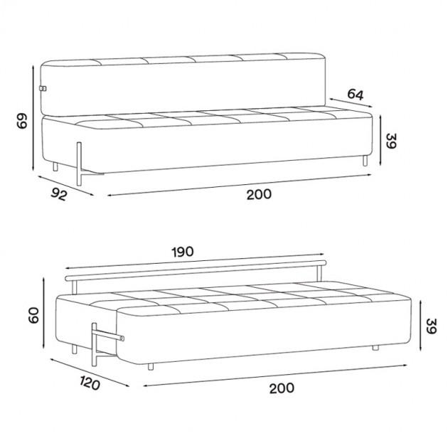 Dimensiones sofá cama daybe sin brazos. Encuéntralo en Moisés showroom