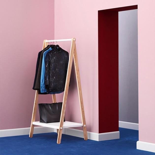 Habitación rosa Toj Clothes Rack grande en fresno y acero color blanco de Normann Copenhagen