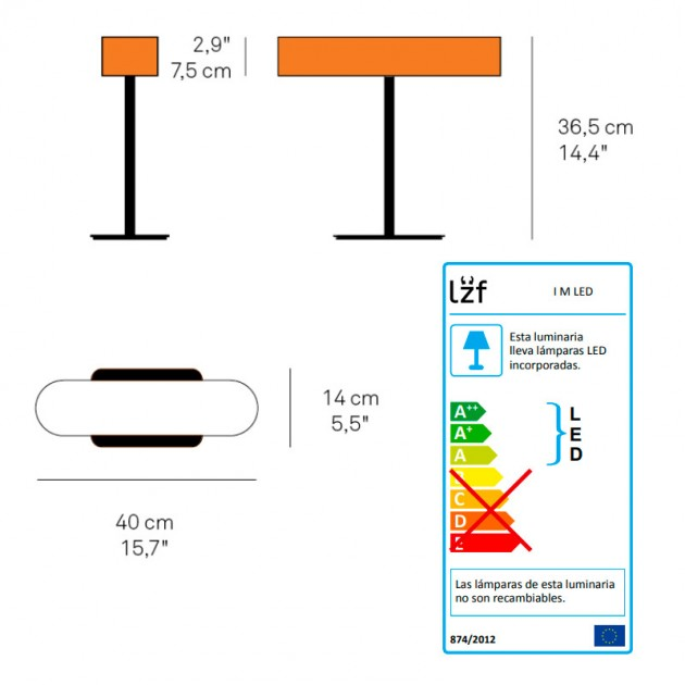 medidas lámpara mesa I Club Luzifer
