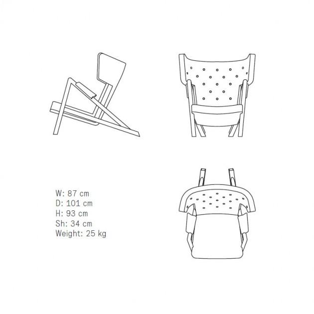 Medidas sillón Grasshopper de Finn Juhl en Moises Showroom