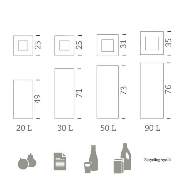 dimensiones Papeleras Riga inox Mobles 114