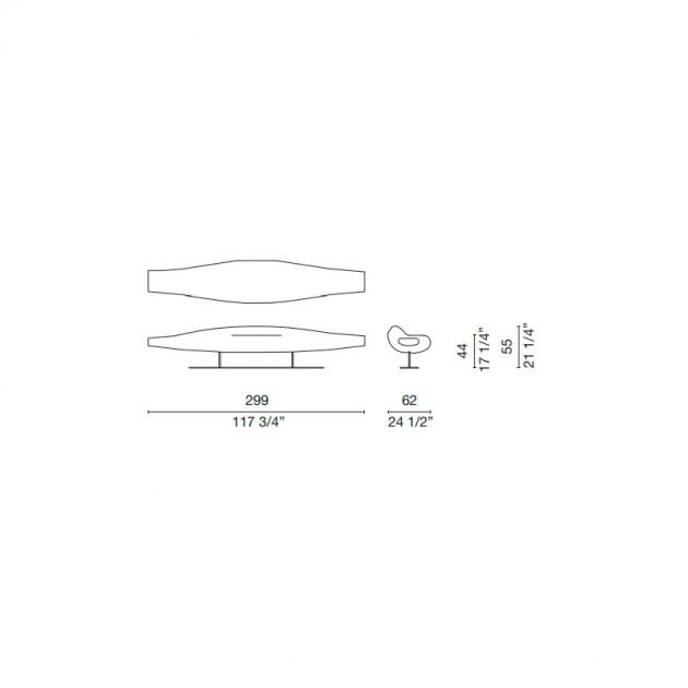 dimensiones Sofá Inout fibra de vidrio Cappellini