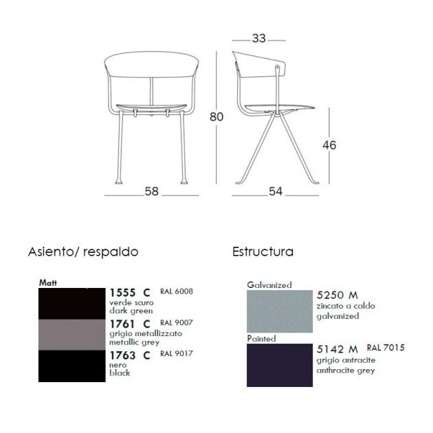 colores y dimensiones silla Officina Magis.