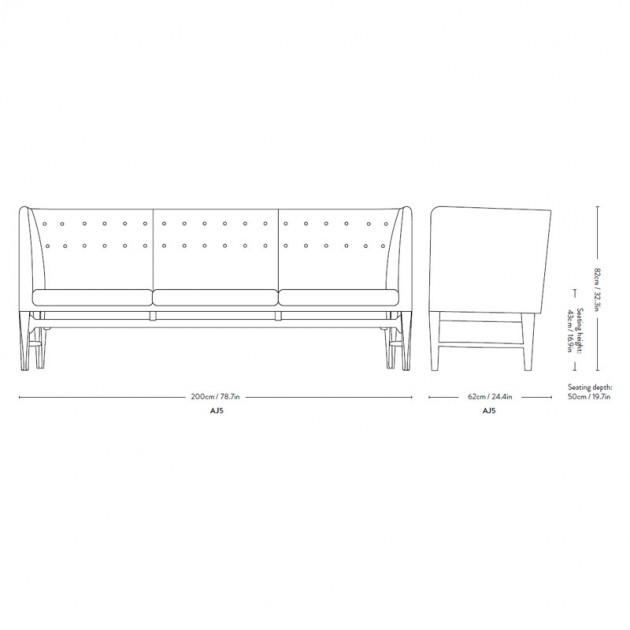 sofá Mayor AJ5 Andtradition dimensiones