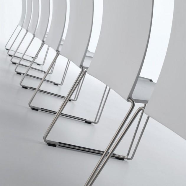 Silla M1 Outdoor de MDF Italia color blanco base acero inoxidable