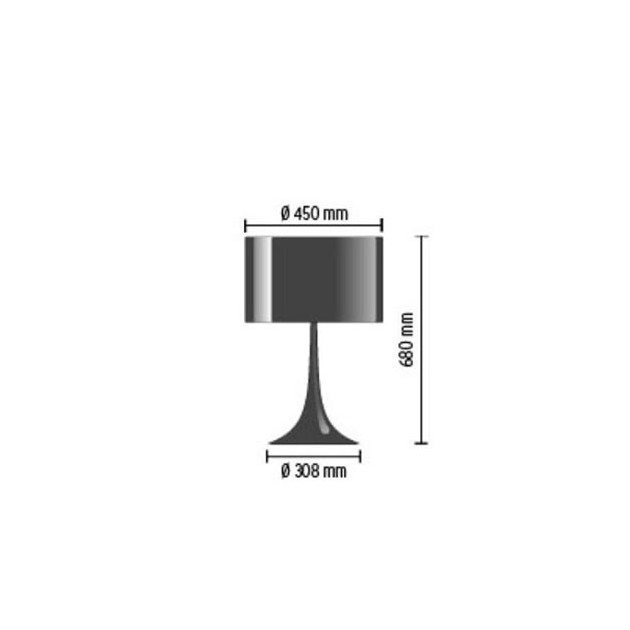 Lámpara Spun Light T2 sobremesa Flos medidas