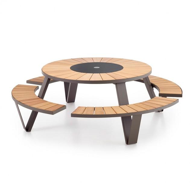 Mesa picnic Pantagruel iroko y acero negro extremis