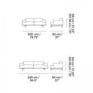 Medidas Sofá Compose 3 seater de Muuto en Moises Showroom