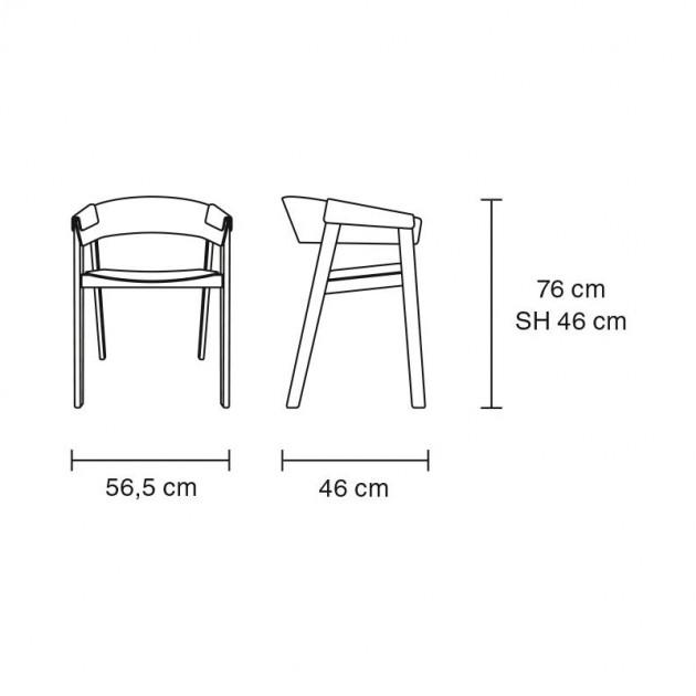 Medidas silla Cover Armchair de Muuto en Moises Showroom