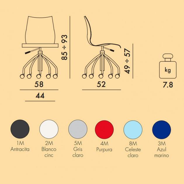 medidas y colores silla con ruedas Maui