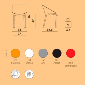 medidas y colores silla Dr Yes Kartell