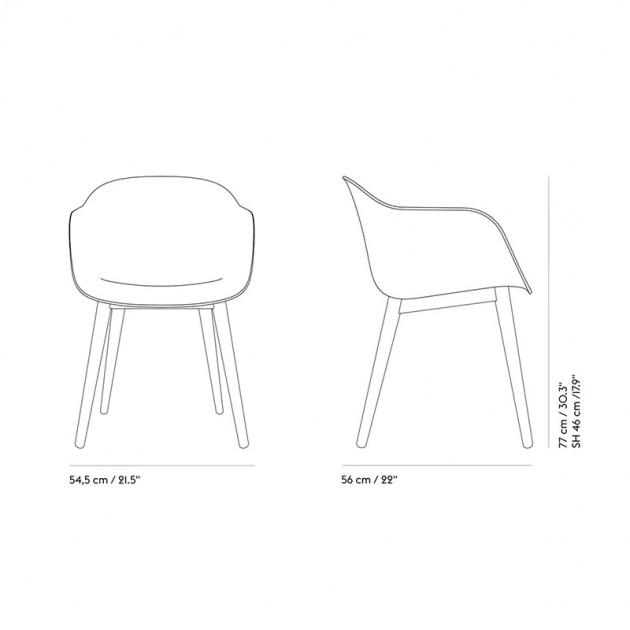 Medidas Fiber Armchair Wood de Muuto en Moises Showroom